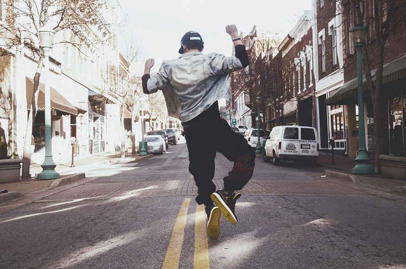 How to Get More Energy Man Jumping in the Middle of the Street