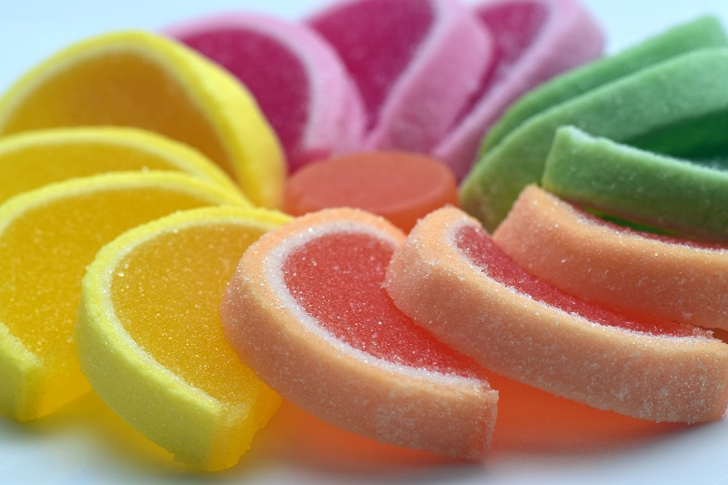 Complex vs Simple Carbs Fruit Shaped Candy in a Circle