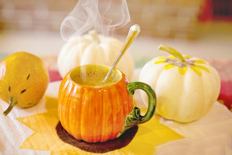 Pumpkin Spice Tea Recipes Steaming Cup of Tea with Small Pumpkin
