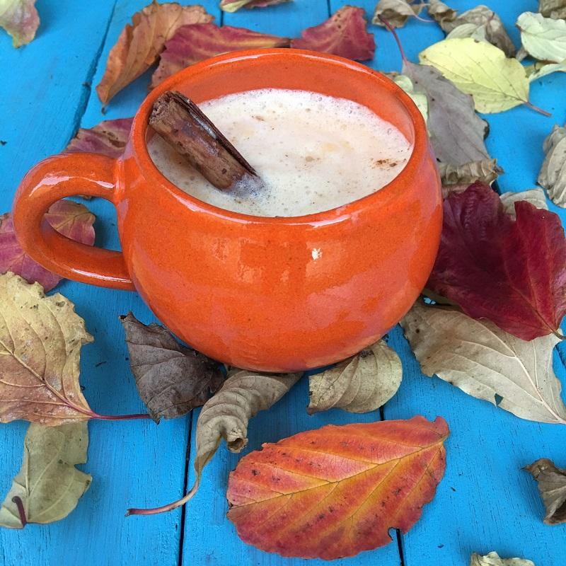 Pumpkin Spice Tea Recipes Orange Cup of Tea on a Blue Table
