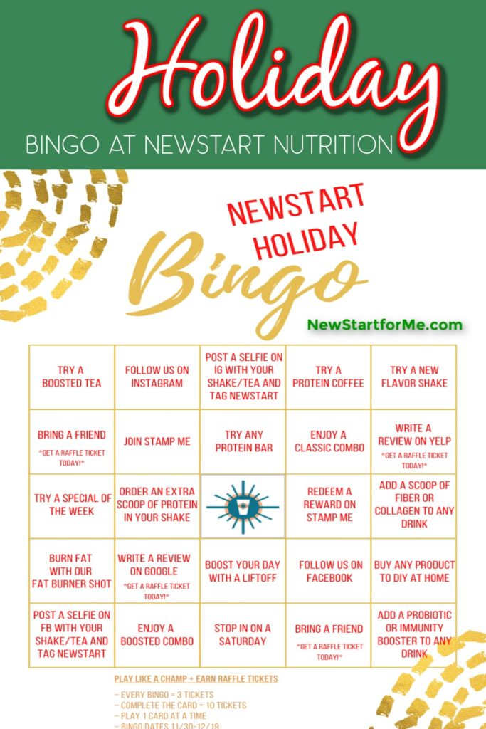 Playing Holiday Bingo at NewStart Nutrition is a fun way to stay healthy and enjoy a little holiday fun with healthy prizes.