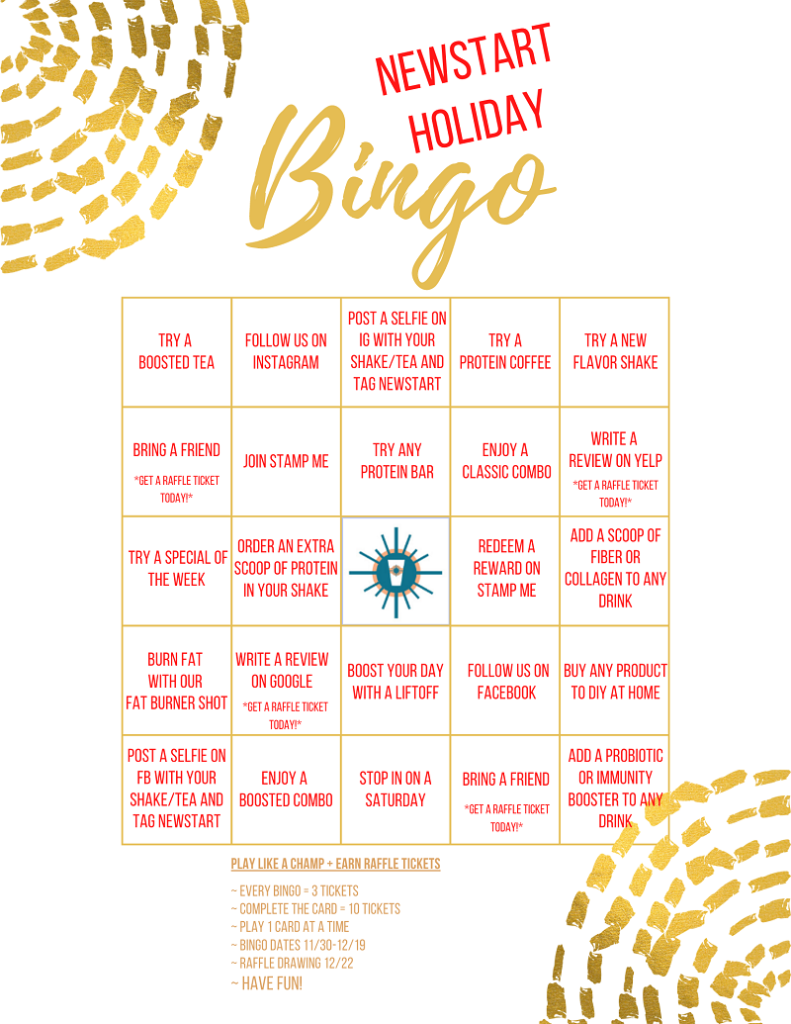 NewStart Holiday Bingo Card Example