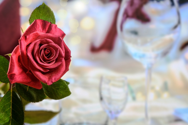 Valentine's Day Side Dishes Close Up of a Rose Centerpiece