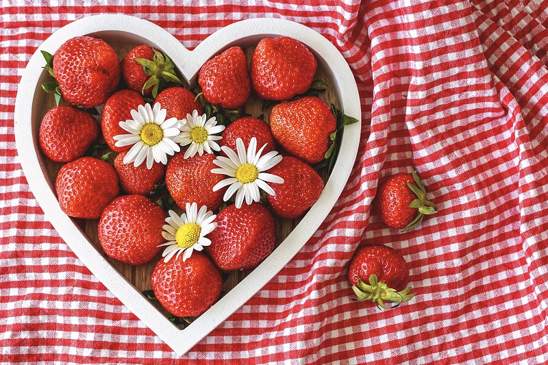 Herbalife Heart Health Products Strawberries in a heart Shaped Dish